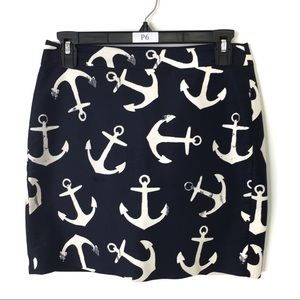 J. Crew Skirt Nautical Anchor Lined Pockets Size 0